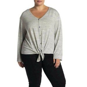 Everleigh 1X Striped Tie Front Knit Top Tee NWT